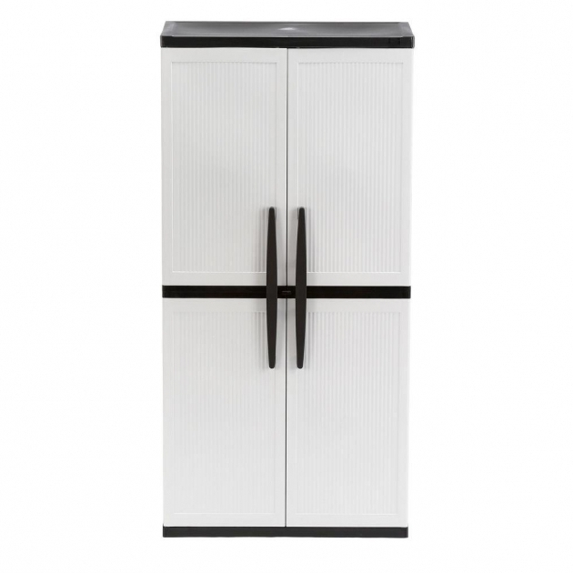 Incredible Hdx 35 In W 4 Shelf Plastic Multi Purpose Cabinet In Gray 221872 Plastic Storage Cabinet With Doors
