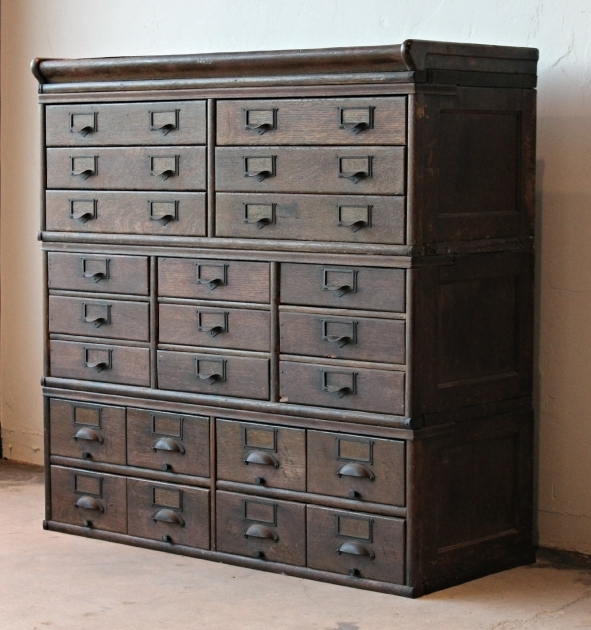 Marvelous Antique Wooden 23 Drawer Storage Cabinet Home Lilys Design Ideas Wood Storage Cabinets With Drawers