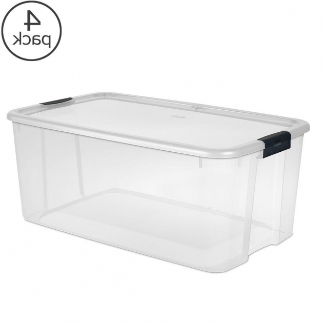Outstanding Sterilite 116 Qt Ultra Storage Box 19908604 The Home Depot Plastic Storage Bins With Lids