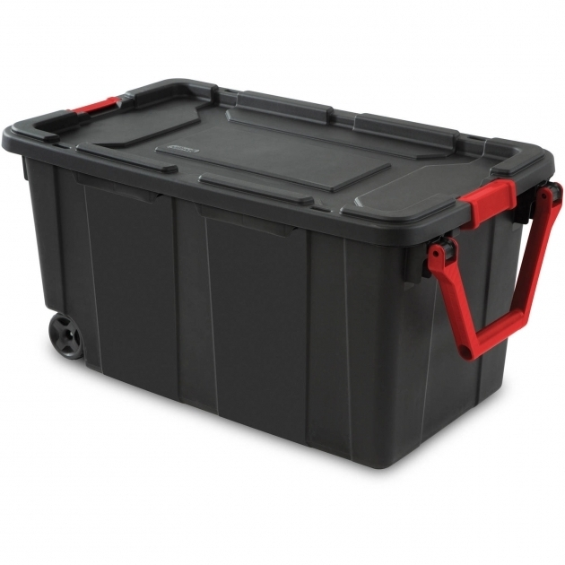 Outstanding Sterilite 40 Gallon Wheeled Industrial Tote Black Walmart Plastic Storage Containers With Wheels