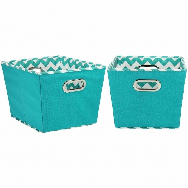 Picture of Household Essentials Medium Decorative Storage Bins 2pk Aqua And Teal Storage Bins