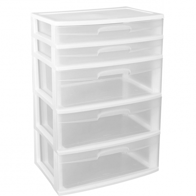 Picture of New Home Sterilite 5 Tier Drawer Wide Storage Organizer White Plastic Storage Bins With Drawers