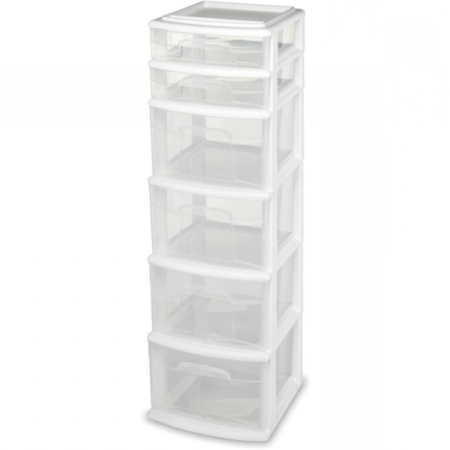 Picture of Sterilite 5 Drawer Tower White Available In Case Of 2 Or Single Plastic Storage Containers With Drawers