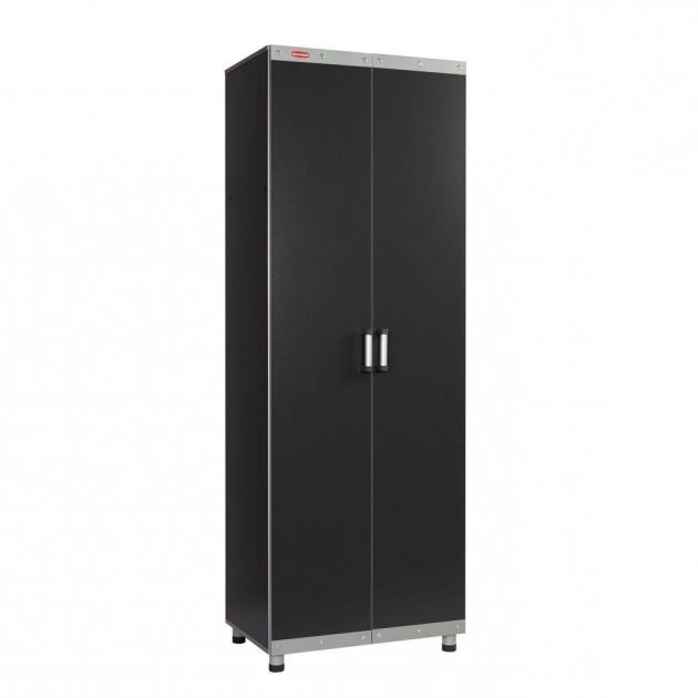 Remarkable Rubbermaid Fasttrack 84 In Garage Tall Cabinet In Laminate Black Rubbermaid Garage Storage Cabinets