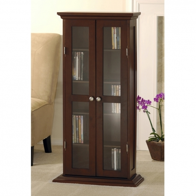 Stunning Wood And Glass Dvd Cd Cabinet Walnut Walmart Dvd Storage Cabinet With Doors