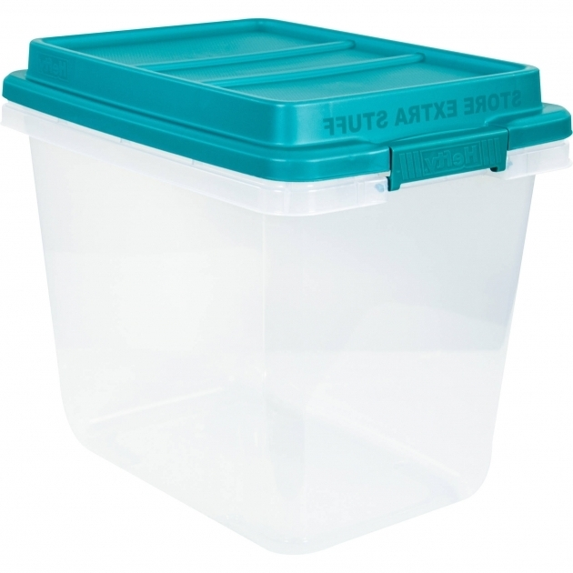 Stylish Hefty 32 Qt Hi Rise Clear Latch Box Teal Sachet Lid And Handles Plastic Storage Bins With Lids