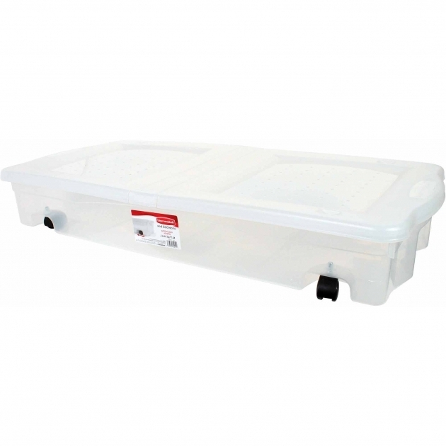 Image of Rubbermaid Underbed Wheeled Storage Box 17 Gal Clear Walmart Storage Bins With Wheels