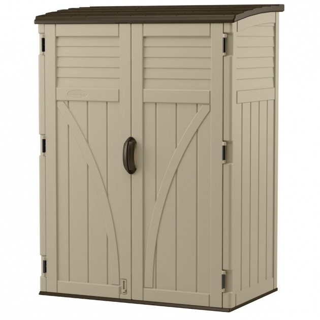 Inspiring Suncast 2 Ft 8 In X 4 Ft 5 In X 6 Ft Large Vertical Storage Home Depot Outdoor Storage Cabinets