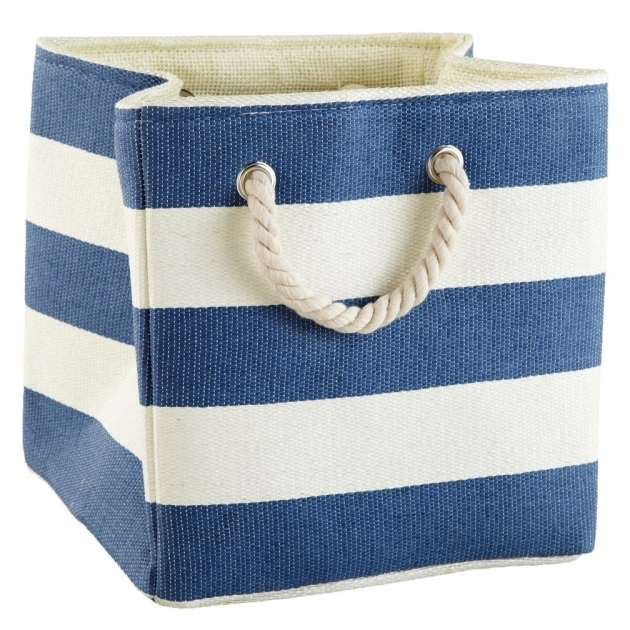 Amazing Storage Interesting White And Blue Strips Of Fabric Storage Bins White Fabric Storage Bins
