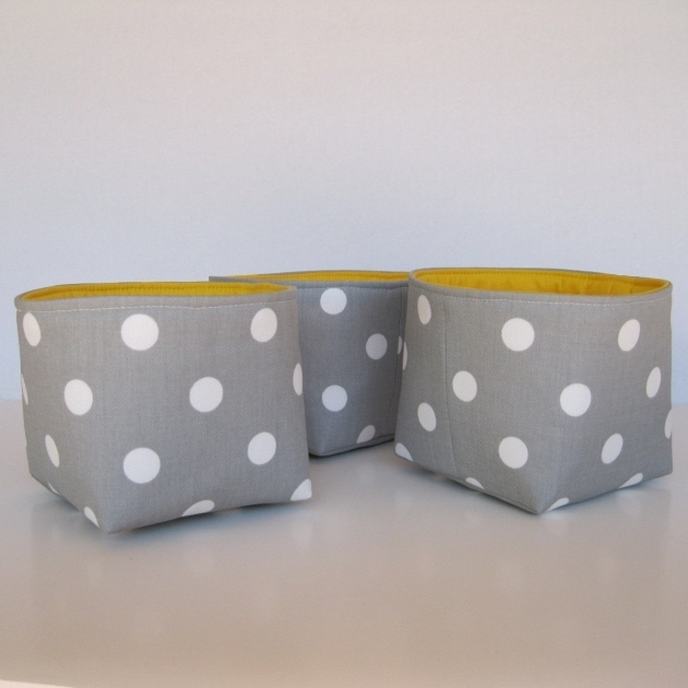 Best Mini Fabric Storage Container Organizer Bins Set Of 3 Gray Yellow Fabric Storage Bins
