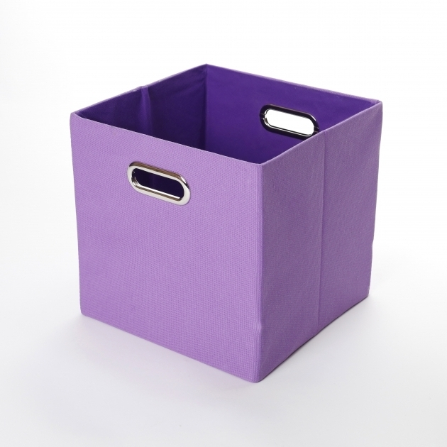 Fantastic Giggle Dots Color Pop Solid Purple Canvas Folding Storage Bin Purple Storage Bins
