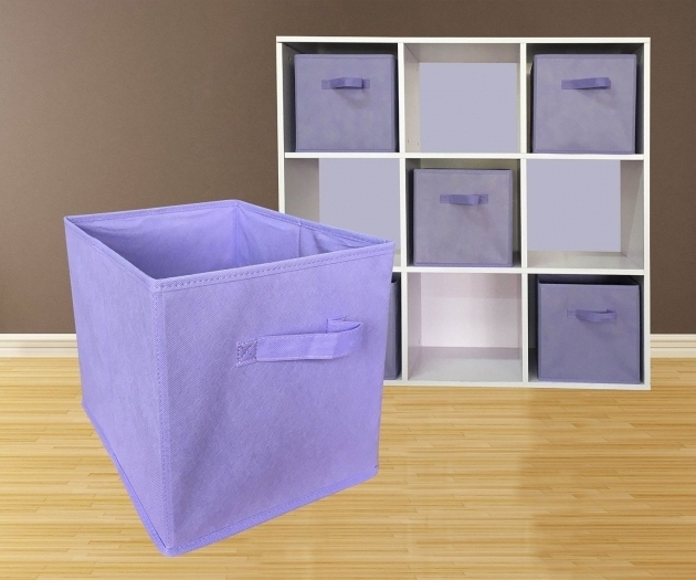 Gorgeous Fabric Foldable Storage Cubes Purple Bin Caddies 6 Piece Set Purple Storage Bins