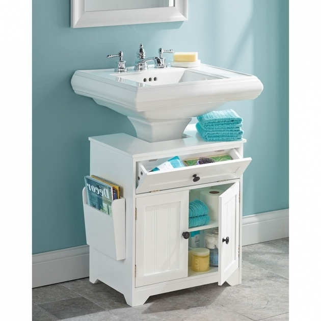 Image of The Pedestal Sink Storage Cabinet Hammacher Schlemmer Bathroom Pedestal Sink Storage Cabinet