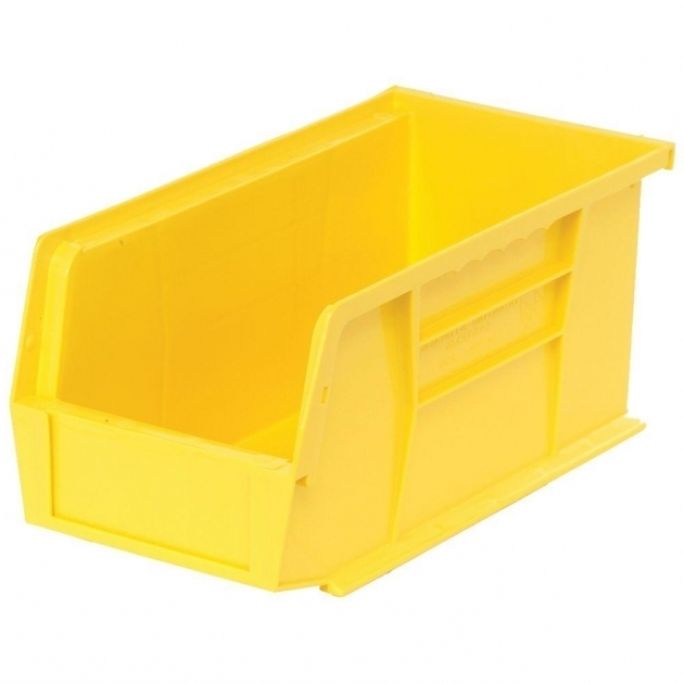 Inspiring Edsal 13 Gal Stackable Plastic Storage Bin In Yellow 12 Pack Home Depot Storage Containers