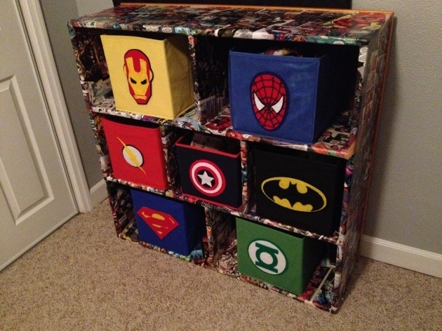 Inspiring Superhero Fabric Bins And Comic Book Decoupaged Cubbies My Superhero Storage Bins