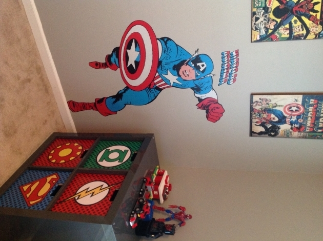 Marvelous My Sons Super Hero Bedroom Homemade Backboard From Comic Books I Superhero Storage Bins
