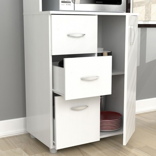 Marvelous New Tall Kitchen Microwave Cart White Utility Cabinet Storage With