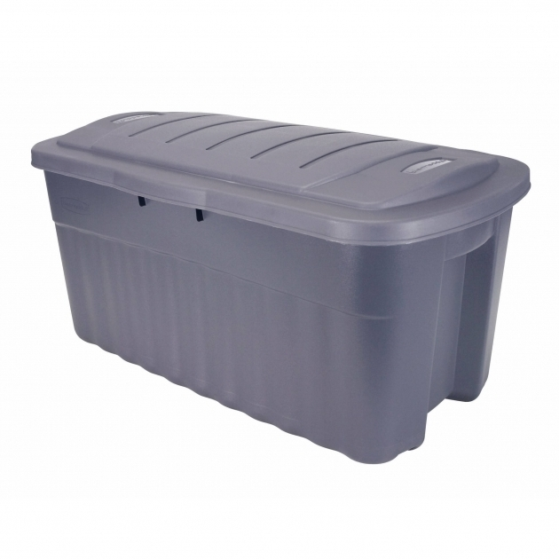 Outstanding Rubbermaid Roughneck Jumbo Hinged Storage Box 40 Gal Dark Indigo 40 Gallon Storage Bin