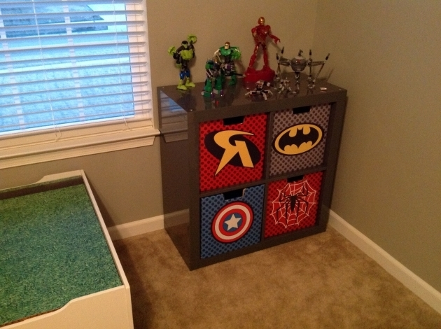 Outstanding Superhero Fabric Bins And Comic Book Decoupaged Cubbies My Superhero Storage Bins