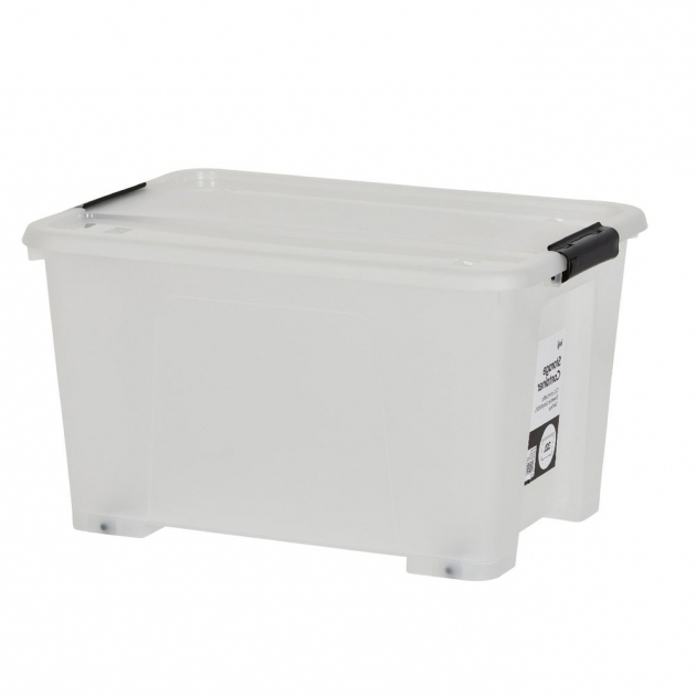 Picture of Keji 32l Plastic Storage Container Clear Officeworks Kmart Plastic Storage Bins