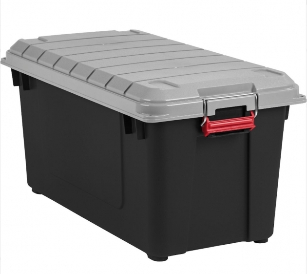 Picture of Overwhelming Black Plastic Lockable Storage Box Ample Storage Waterproof Storage Containers