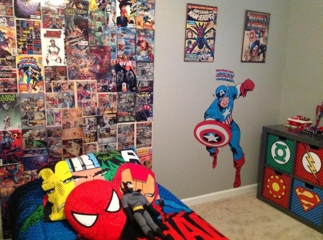 Stunning My Sons Super Hero Bedroom Homemade Backboard From Comic Books I Superhero Storage Bins