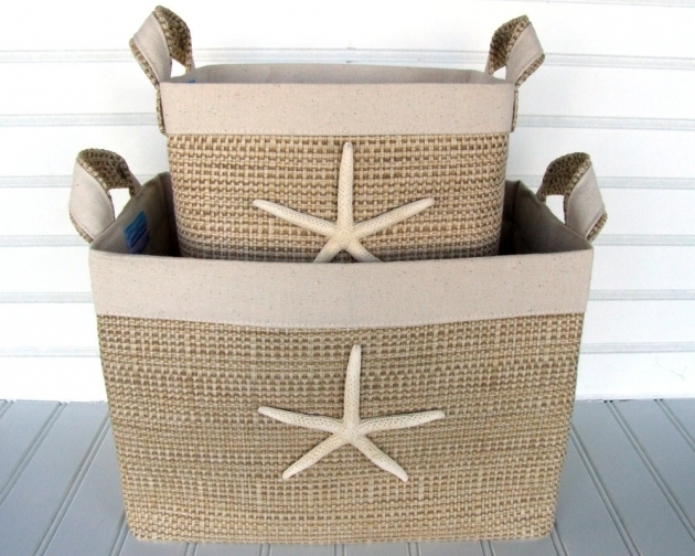 Stylish Set Of Two Coastal Fabric Storage Baskets With Sea Stars For Your Yellow Fabric Storage Bins