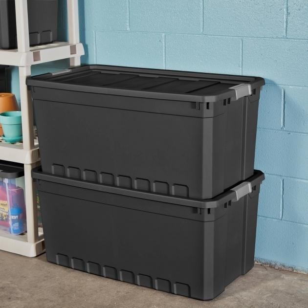 Stylish Sterilite 50 Gallon Stacker Tote Black Case Of 3 Walmart 60 Gallon Storage Bin