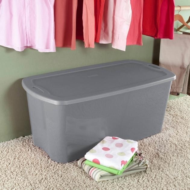 Alluring Sterilite 50 Gallon Tote Box Titanium Available In Case Of 4 Or 50 Gallon Storage Bin