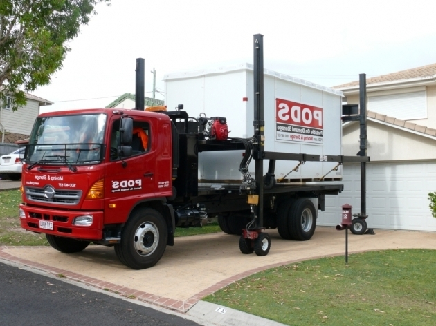 Amazing Moving And Pods Storage Container On Red Truck With Sturdy Black Pods Storage Containers