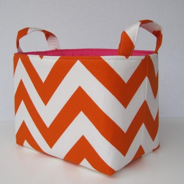 Awesome Desk Organizer Storage Organization Container Fabric Basket Orange Storage Bins