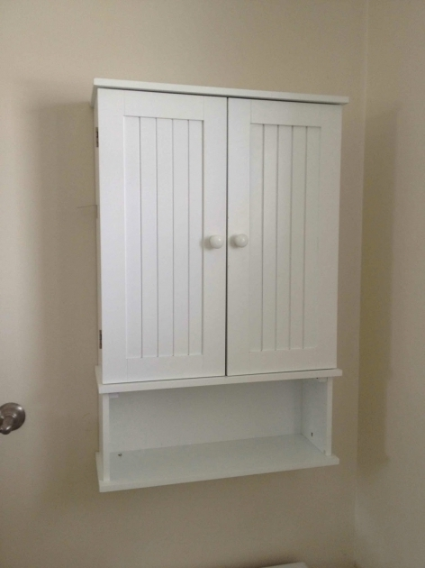 Fascinating Amazing White Wooden Double Door And Single Shelves Wall Mount Bathroom Storage Cabinets Wall Mount
