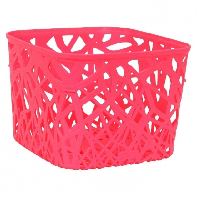 Image of Essentials Branch Weave Storage Bin Set Of 4 Luminous Coral Coral Storage Bins