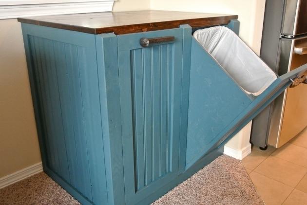 Incredible Kitchen Brown Varnishing Wooden Kitchen Trash Can Storage Cabinet Trash Bin Storage Cabinet
