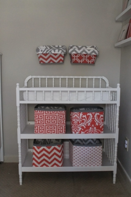 Inspiring Magnolia Mommy Made Coral And Gray Nursery Reveal Jenny Lind Coral Storage Bins