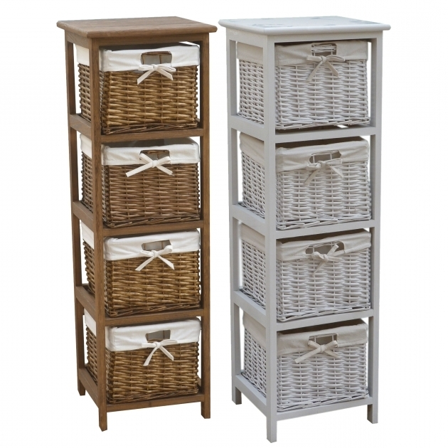 Picture of Bentley Home Wooden Storage Tallboy With Wicker Baskets Wicker Storage Cabinets