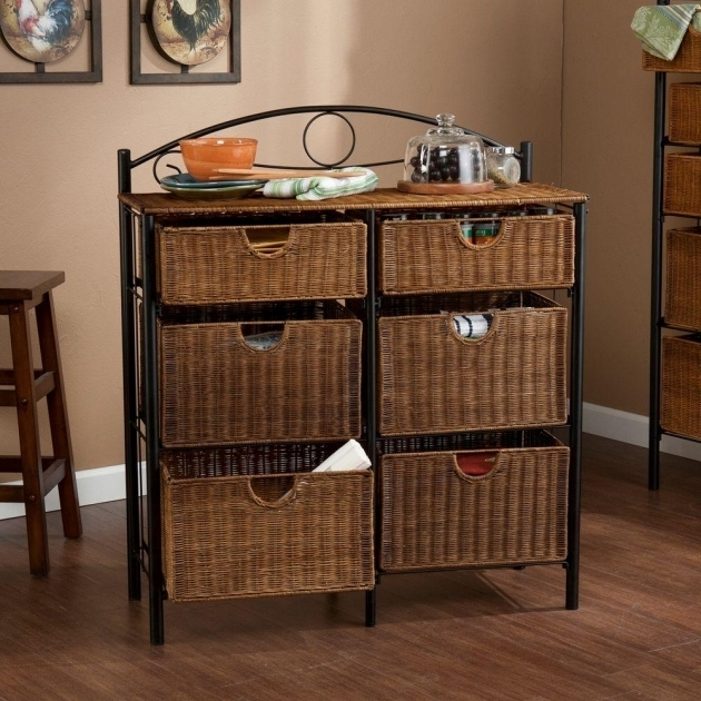 Picture of Southern Enterprises Jerome 6 Drawer Iron And Wicker Storage Wicker Storage Cabinets