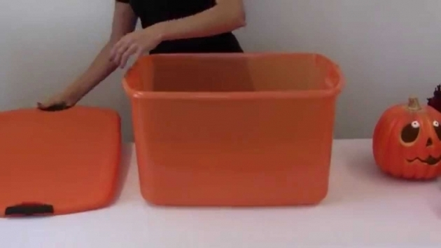 Picture of Sterilite 66 Quart Orange Storage Tote Youtube Orange Storage Bins