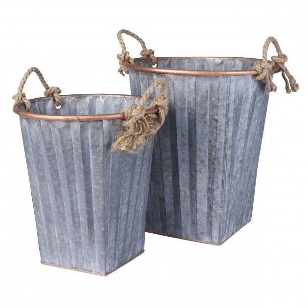 Remarkable Household Essentials 2 Piece Galvanized Metal Bin Set Reviews Galvanized Storage Bins