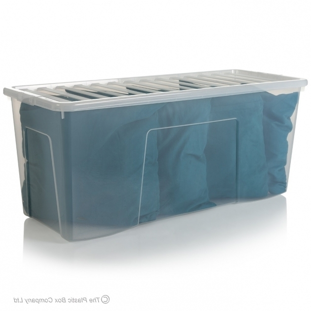 Stylish Pack Of 10 133 Litre Extra Large Plastic Storage Boxes Wham Large Clear Storage Bins