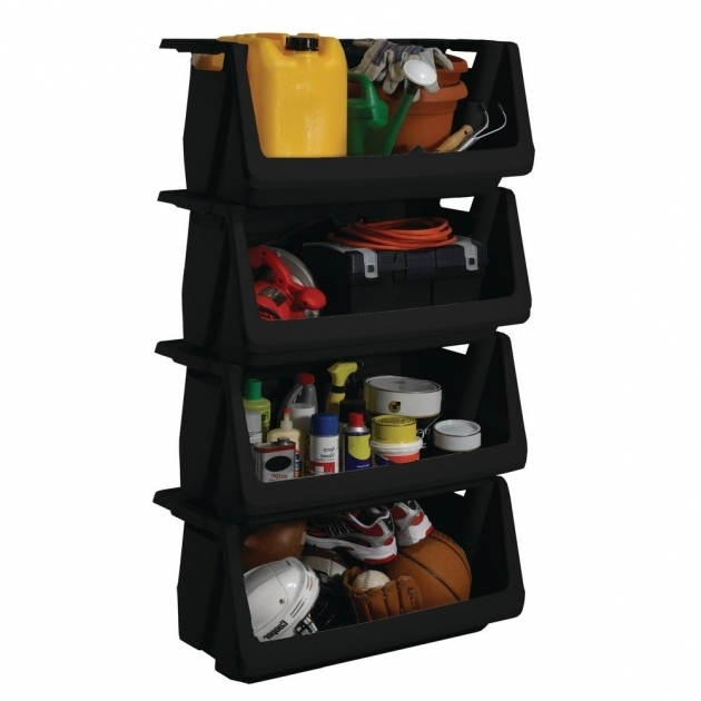Awesome Husky Stackable Storage Bin In Black 232387 The Home Depot Husky Stackable Storage Bins