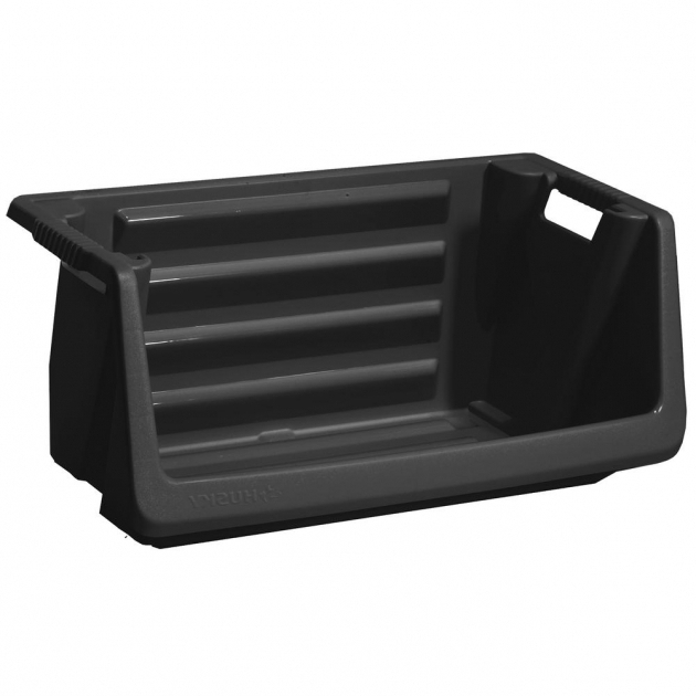 Awesome Husky Stackable Storage Bin In Black 232387 The Home Depot Husky Storage Containers
