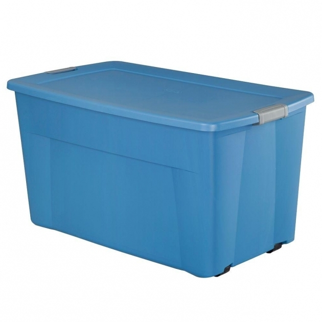 Awesome Sterilite 45 Gal Wheeled Latching Storage Tote In Lapis Blue Wheeled Storage Containers