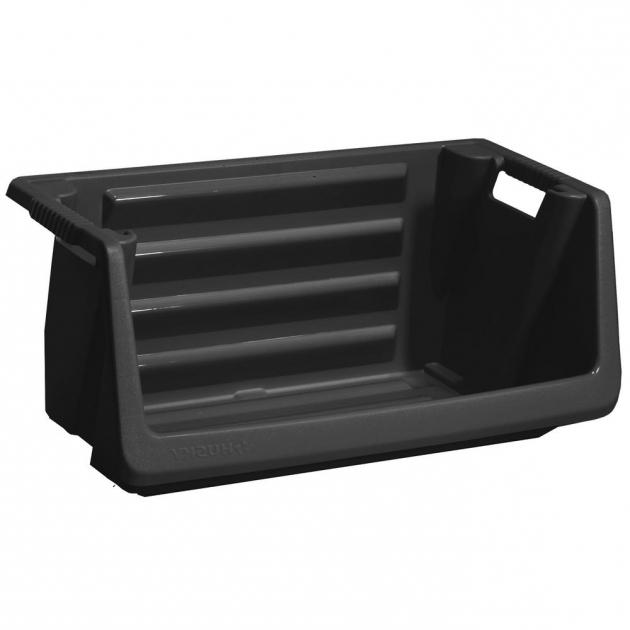 Fascinating Husky Stackable Storage Bin In Black 232387 The Home Depot Husky Stackable Storage Bins