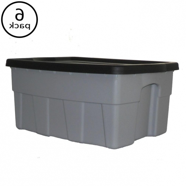 Image of Centrex Plastics 8 Gal Dura Box Storage Tote 6 Pack 949358 30 Gallon Storage Bins