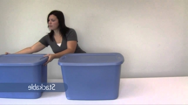 Image of Sterilite Blue 18 Gallon Tote Box Youtube 30 Gallon Storage Bins