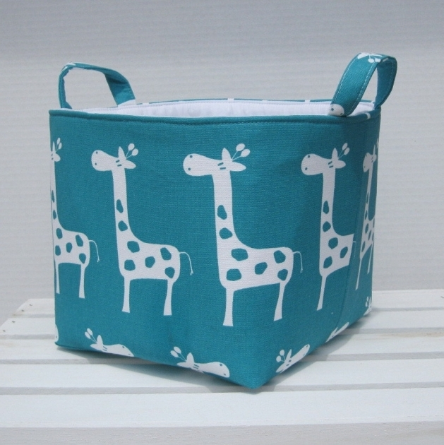 Outstanding Fabric Organizer Bin Toy Storage Container Basket Turquoise Blue Turquoise Storage Bins