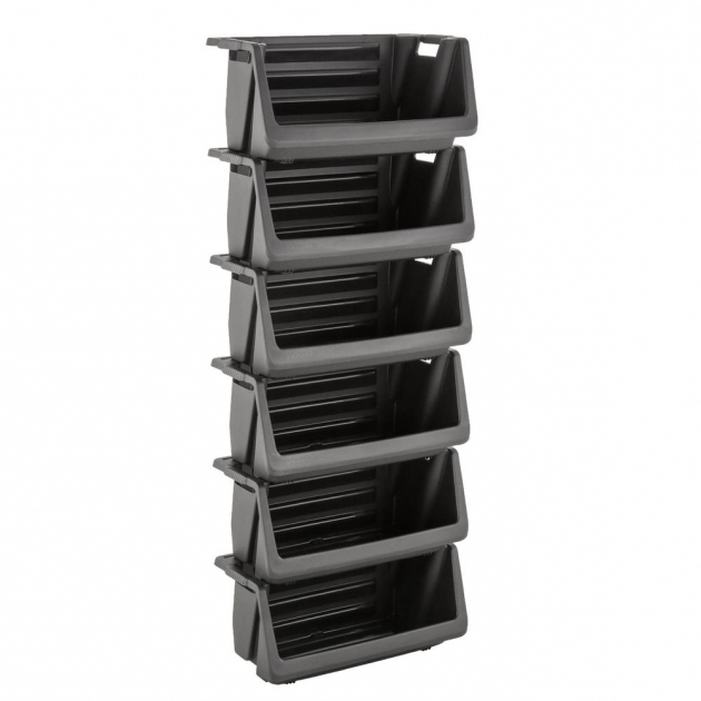 Picture Of Husky Stackable Storage Bin In Black 232387 The Home Depot Bins