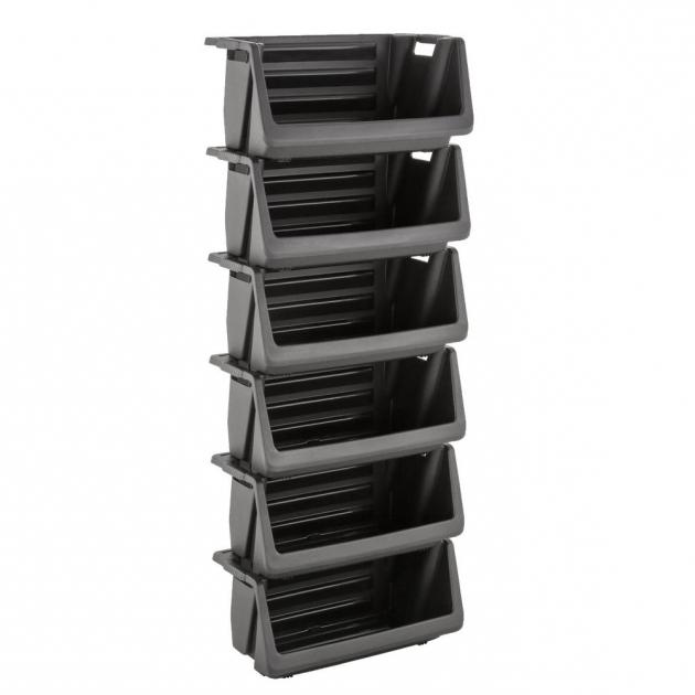 Picture of Husky Stackable Storage Bin In Black 232387 The Home Depot Husky Stackable Storage Bins