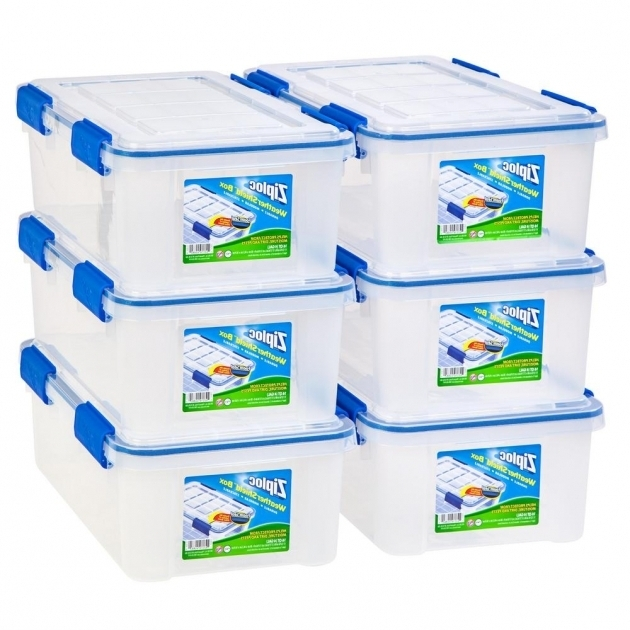 Picture of Iris 16 Qt Ziploc Weather Shield Storage Box In Clear Pack Of 6 Ziploc Storage Bins